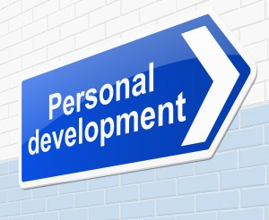 Illustration depicting a sign with a personal development concept.